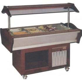 Buffet mixte réfrigéré et chaud central mobile 4 ou 6 bacs gastro GN 1/1