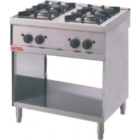 Plan de cuisson 4 feux vifs sur placard ouvert